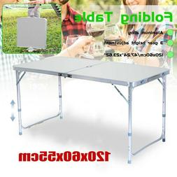US Folding Table 4' Portable Plastic Indoor Outdoor BBQ Picn