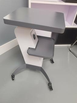 Utility working table with shelves&wheels painted metal grey
