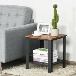 Vasagle Industrial End, 2-Tier Side Table with Storage Shelf