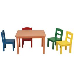 Wood Children Table 4 Chairs Natural Activity Table Colored