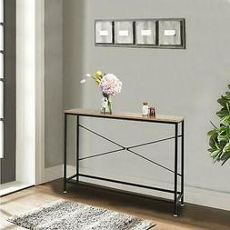 Wood Console Table Modern Sofa Accent with Shelf Stand Entry