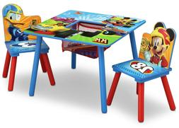Wood Kids Table and 2 Chairs Set For Toddler Baby With Stora