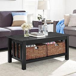 """WE Furniture 40"""" Wood Storage Coffee Table with Totes - Blac"""