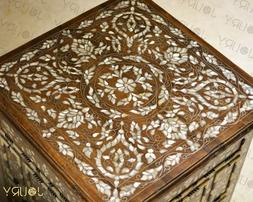 wooden mosaic marquetry syrian side table round