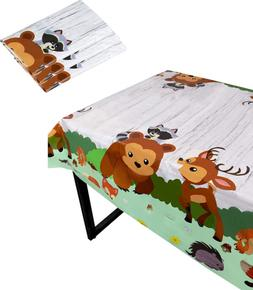 Blue Panda Woodland Animals Party Tablecloth - 3-Pack Dispos
