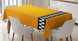 Yellow Retro Tablecloth Ambesonne 3 Sizes Rectangular Table